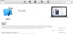 Installation von Xcode über den App Store