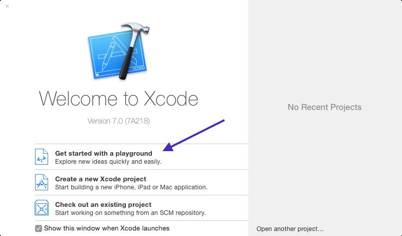 xcode splash playgrround button