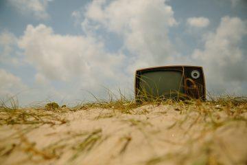 A retro TV in desert